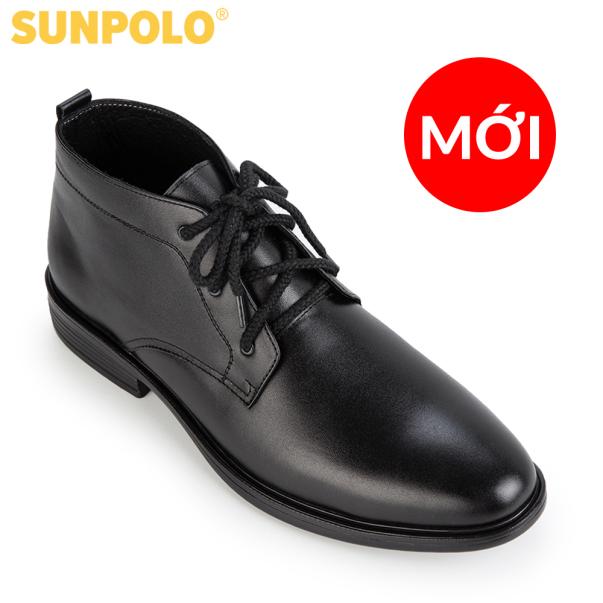 Giày Boot Nam Da Bò SUNPOLO Cột dây BOOT03 (Đen) giá rẻ