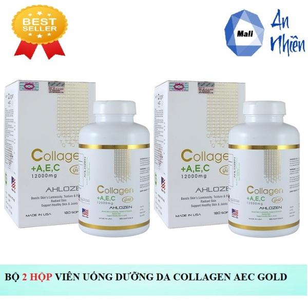 Bộ 2 Hộp Viên Uống Dưỡng Đẹp Da Ahlozen Collagen +A,E,C 1200mg - Hộp 180 Viên