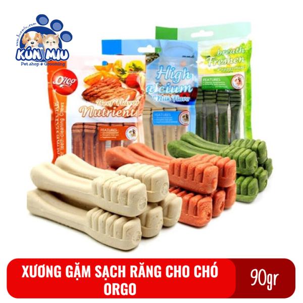 Xương gặm cho chó Orgo 90gr gói 6 thanh hình bàn chải giúp sạch răng, thơm miệng và bổ xung canxi