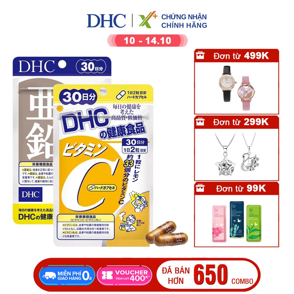 Combo NGỪA MỤN - GIẢM THÂM DHC Nhật Bản (viên uống Vitamin C và Viên uống Kẽm zinc) thực phẩm chức năng tăng cường đề kháng làm đẹp da XP-DHC-CB2