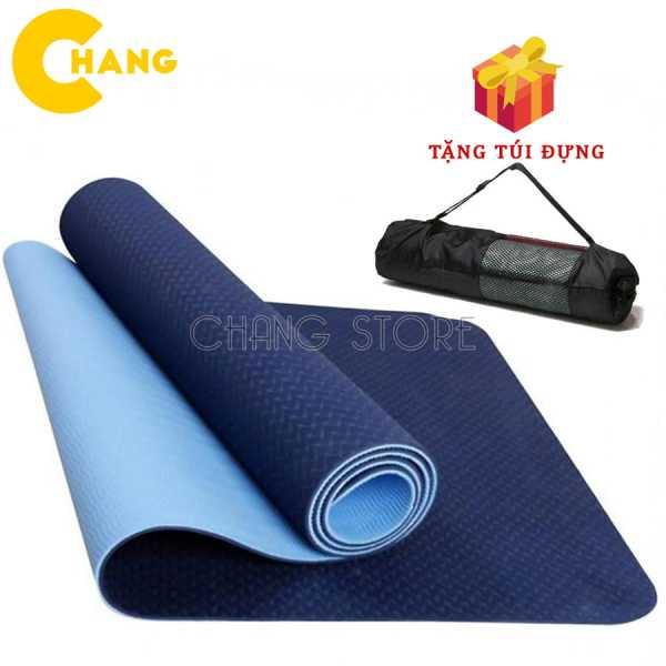 Thảm tập Yoga/ Gym TPE 2 LỚP Cao Su Non Dày, Êm Chống Trơn Trượt + Tặng Túi Đựng Tiện Dụng