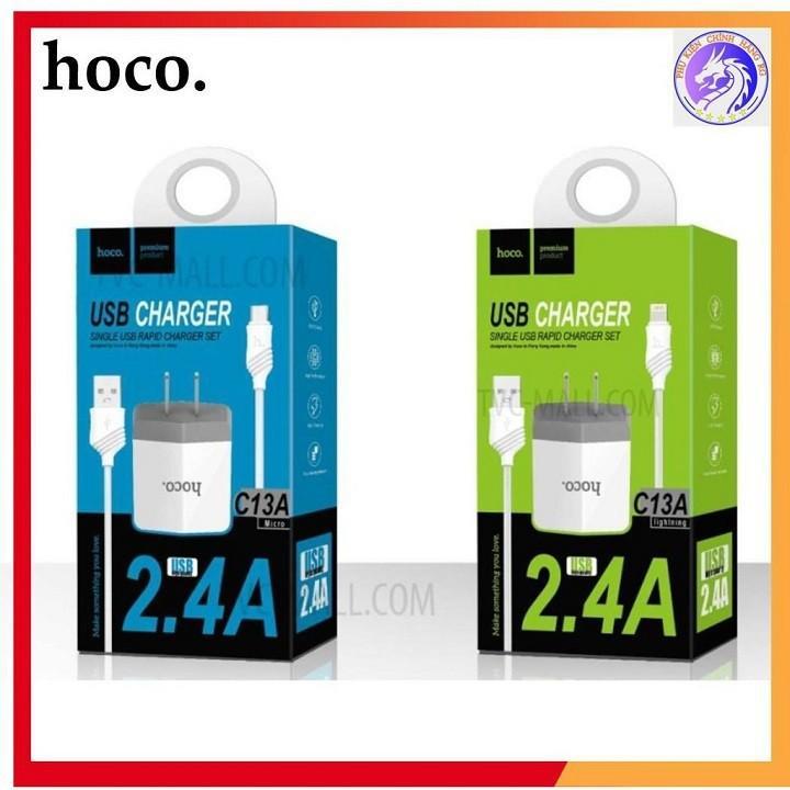 Cốc sạc Hoco C13A 2.4A + Cáp sạc 1m