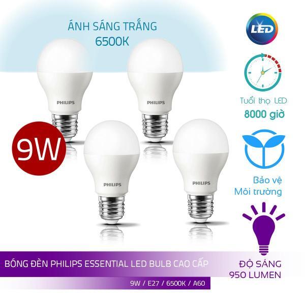 Combo 4 Bóng Philips LED Bulb Essential 9W E27 ( Ánh sáng trắng 6500K)