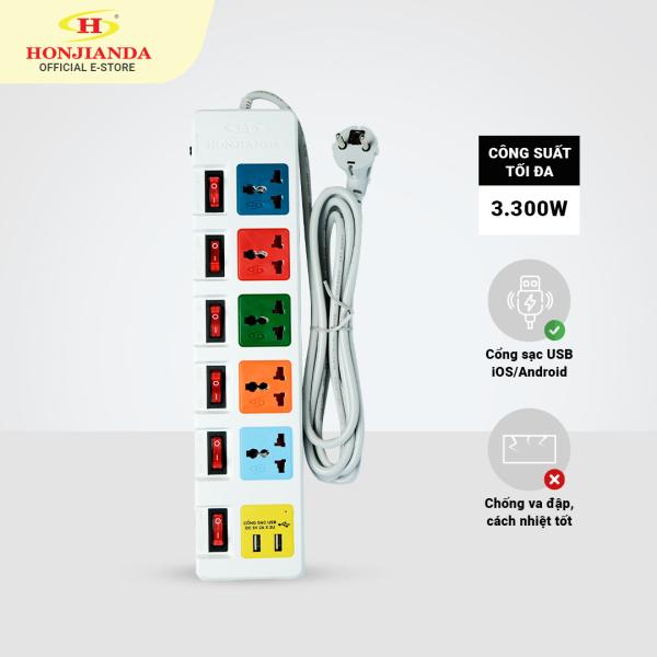 Bảng giá Ổ cắm điện đa năng Có USB Honjianda Mã 06 Nhiều công tắc Dây 3m/5m - an toàn chống quá tải