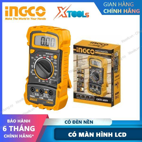 Bảng giá Đồng hồ đo điện vạn năng INGCO DM200 Đồng hồ đa năng Màn hình LCD 1999 số đếm. Đèn nền DCV 200mV-600V, ACV 200V/600V, DCA 200μA-10A, 200Ω-2MΩ- XTOOLs, XSAFE