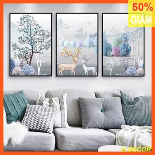 Tranh treo tường 3 bức phong cách hiện đại - Bắc Âu GG08A, tranh trang trí phòng khách, phòng ngủ, phòng ăn, spa, trang trí nhà cửa, tranh decor, tranh con hươu thumbnail