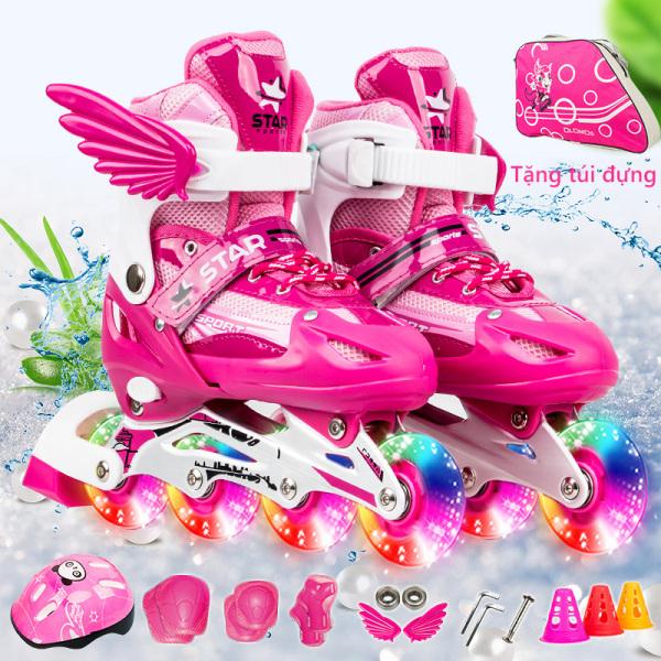 Mua giày trượt pa tanh trẻ em 1 hàng bánh đơn, giày trượt pa tanh nhấp nháy size M-L, giày pa tanh thời tranh cánh thiên thần camry