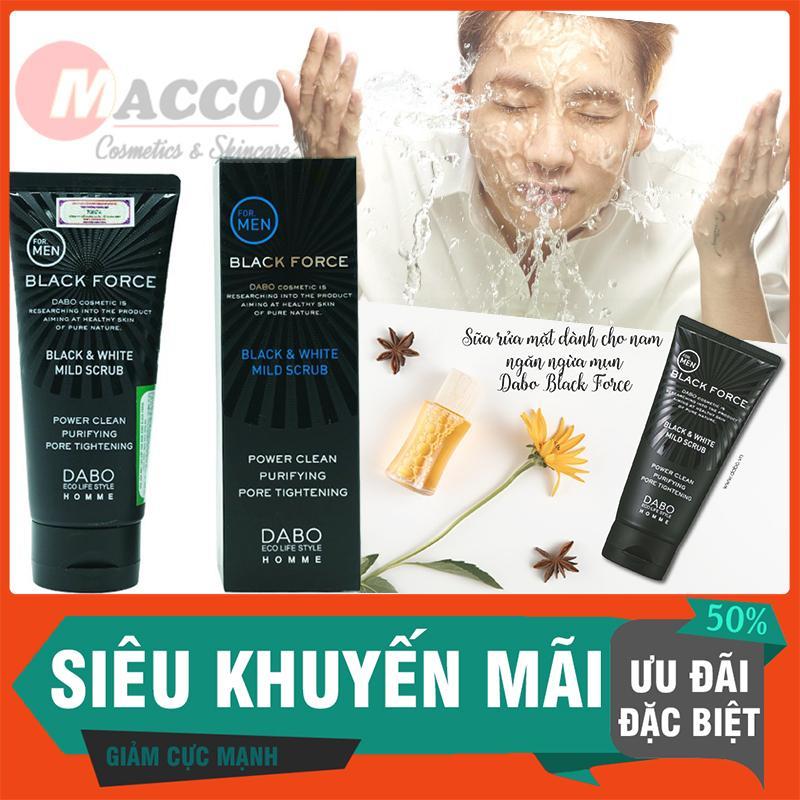 Sữa Rửa Mặt Nam Dabo Black Force Than Hoạt Tính Ngăn Ngừa Mụn, Trắng Da Hàn Quốc (120ml) – Hàng Chính Hãng nhập khẩu