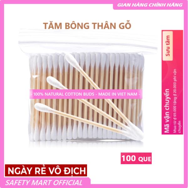 [RẺ HƠN HOÀN TIỀN] Gói 100 que Tăm Bông thân Gỗ bông gòn mềm mại kháng khuẩn, thân thiện môi trường đa công dụng - Hàng VN xuất khẩu giá rẻ