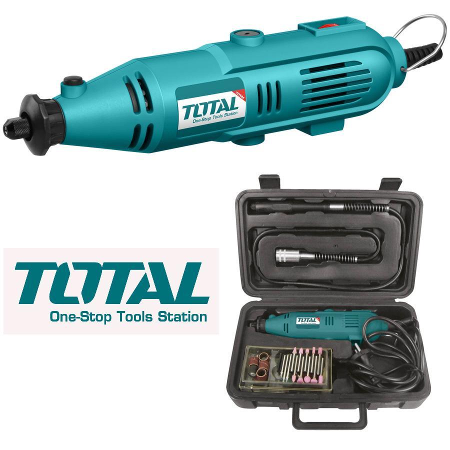 3.2mm Bộ máy mài khuôn mini 130W TOTAL TG501032 - kèm vali 52 chi tiết đầu mài khoan trạm trổ