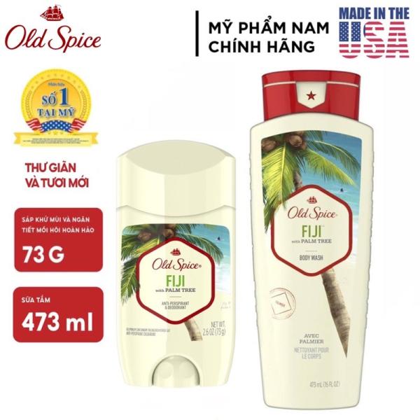 [USA] Combo Old Spice Fiji Gel sữa tắm 473ml + Lăn sáp khử mùi 73g (sáp trắng) - Mỹ nhập khẩu