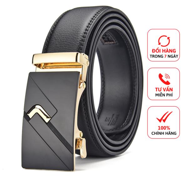 Thắt Lưng Nam Khóa Tự Động D&D Fashion Họa Tiết Chữ V Vàng Kết Hợp Dây Da Màu Đen Dài 120cm