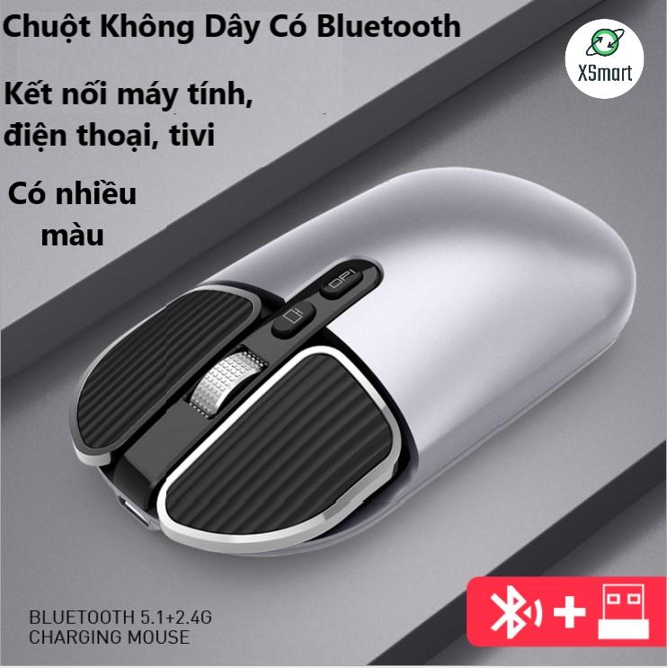 Chuột Không Dây Bluetooth Pin Sạc M203 Có Hai Loại Kết Nối Bluetooth Hoặc Đầu Thu USB 2.4 GHz Cho Máy Tính Điện Thoại Laptop Macbook Thiết Kế Mới Siêu Đẹp Pin Trâu