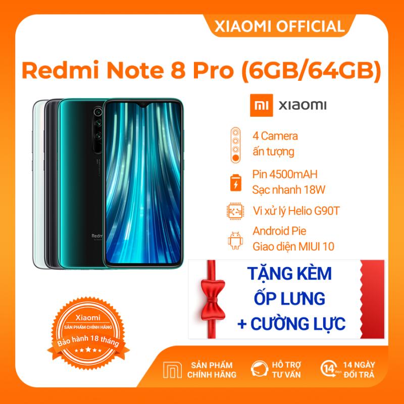 [XIAOMI OFFICIAL] Điện Thoại Redmi Note 8 Pro (6GB RAM/ 64GB ROM) - Cấu hình khủng giá rẻ Camera 64MP Camera trước 20MP Màn hình 6.53 Pin trâu 4500mAh Sạc nhanh Game Hiệu Năng Mạnh Mẽ - Hàng Chính Hãng, Bảo Hành 18 tháng