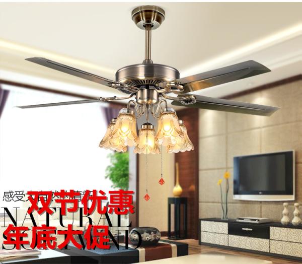 Quạt trần đèn chùm 5 cánh thép với 5 đèn SLFan SLF-2023
