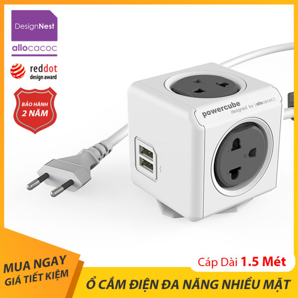 Ổ Cắm Điện Đa Năng, Thông Minh Allocacoc PowerCube Extended 2 Cổng Sạc USB Dây Cáp 1.5m