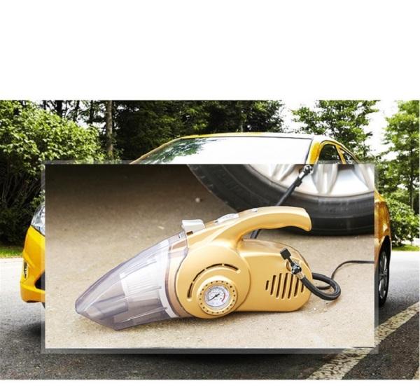 [HCM]Máy hút bụi kiêm bơm lốp ô tô tiện dụng cho xe hơi kiêm đèn pin chiếu sáng và đồng hồ đo áp suất / Máy hút bụi cầm tay oto (Bán chạy)