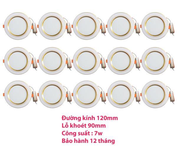 Bộ 15 đèn led âm trần viền vàng 7w 2 màu 3 chế độ (trắng –vàng ấm – vàng nắng)