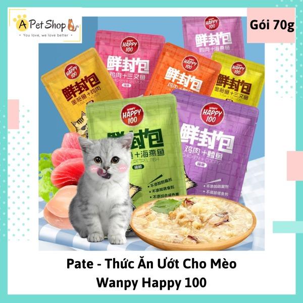 [Pate cho mèo] Thức ăn ướt cho mèo Wanppy Happy 100 gói 70gr - A Pet Shop