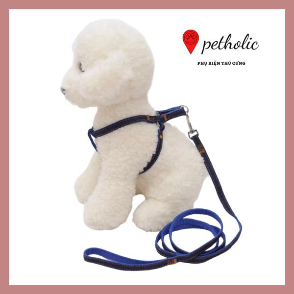 Bộ dây dắt thú cưng đi dạo kèm đai ngực chất liệu dây dù và denim 2 lớp siêu bền Petholic