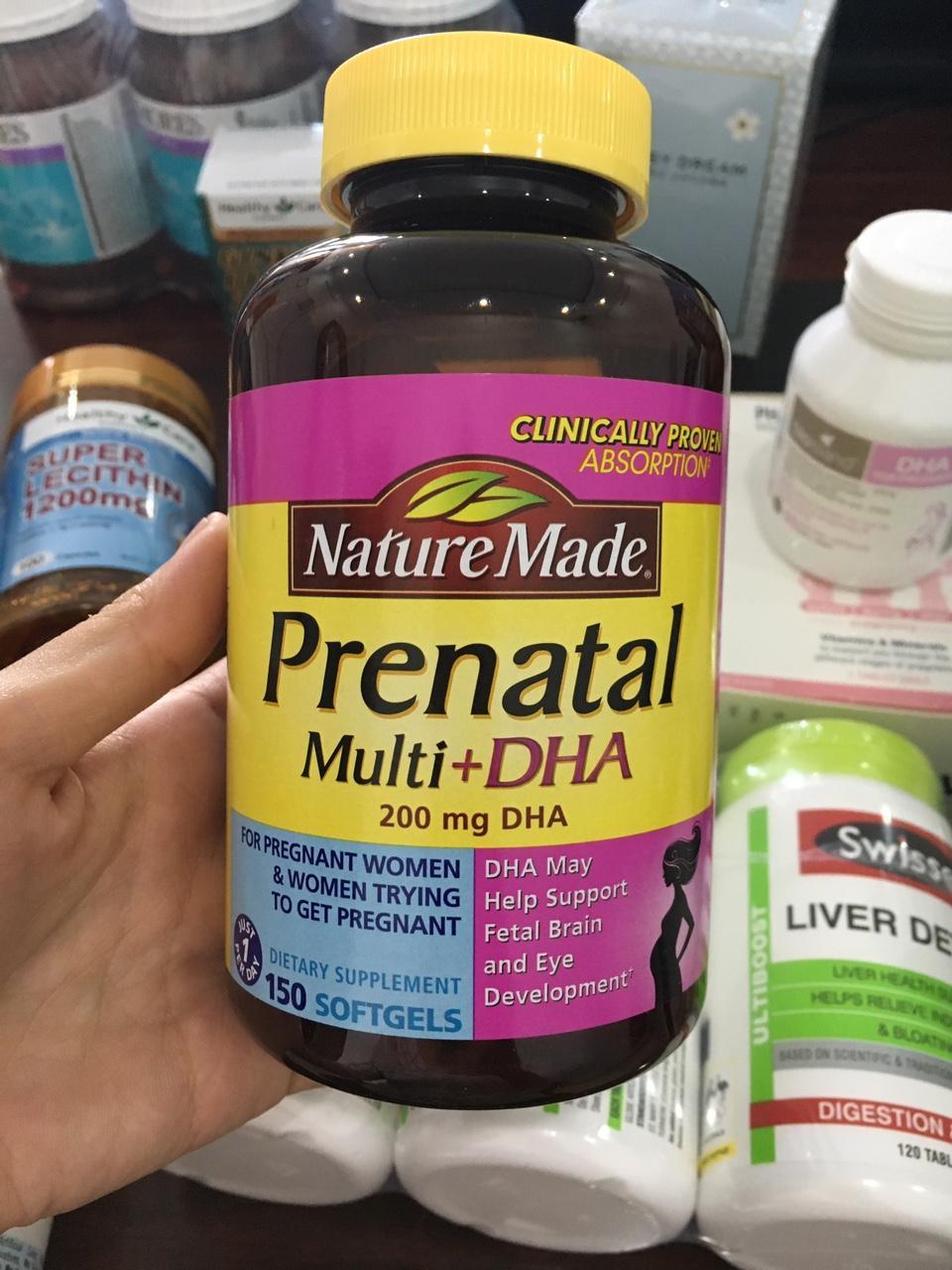 Vitamin Tổng Hợp Cho Bà Bầu Prenatal Multi DHA, 150 viên (Thuốc Bầu) - Giúp mẹ khỏe con thông minh Mẫu mới nhất 2019 nhập khẩu
