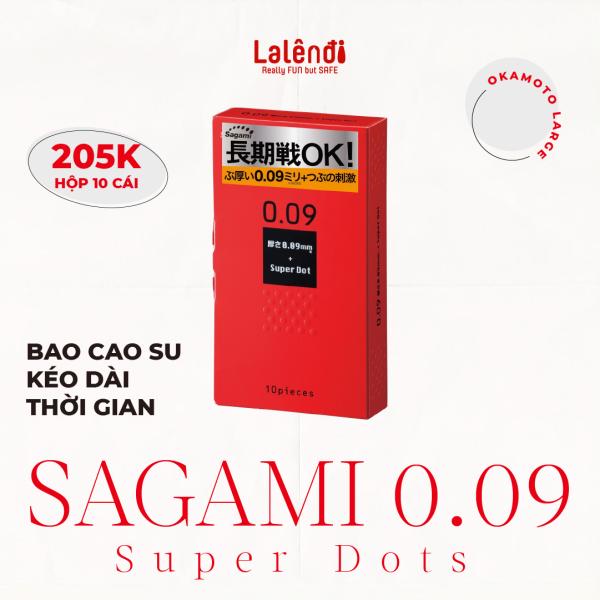 Bao cao su Sagami 0.09 Super Dots kéo dài thời gian, có gai (10 bao/hộp) | Lalendi Store nhập khẩu