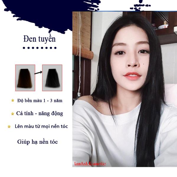 Thuốc nhuộm tóc màu Đen Tuyền màu nhuộm lân chuẩn tone kem nhuộm an toàn nhuộm không sót da đầu mùi thơm nhập khẩu
