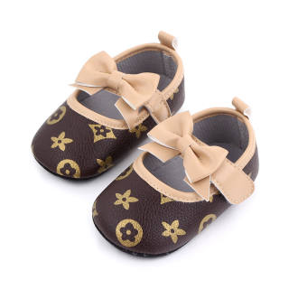 Tootplay 1 Đôi Giày Bé Gái, Giày Trẻ Tập Đi Đế Mềm Thắt Nơ Cho Bé 3-12 Tháng Tuổi