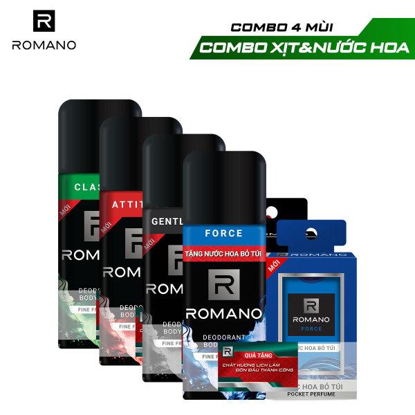 Xịt toàn thân Romano 150ml + Nước hoa bỏ túi 18ml giá rẻ