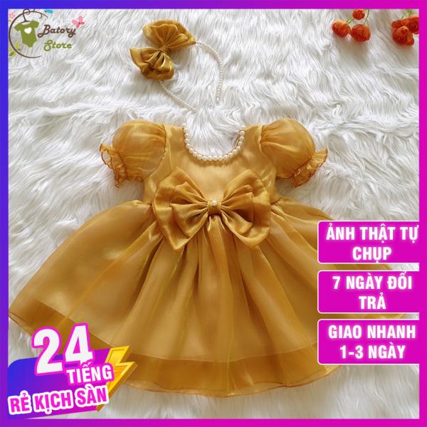 [LOẠI 1] Váy đầm công chúa cho bé màu vàng kết cườm - Hàng thiết kế chất liệu siêu cao cấp, sang trọng thích hợp đi chơi đi tiệc, quà tặng  | BATORY Store Cửa hàng quần áo trẻ em
