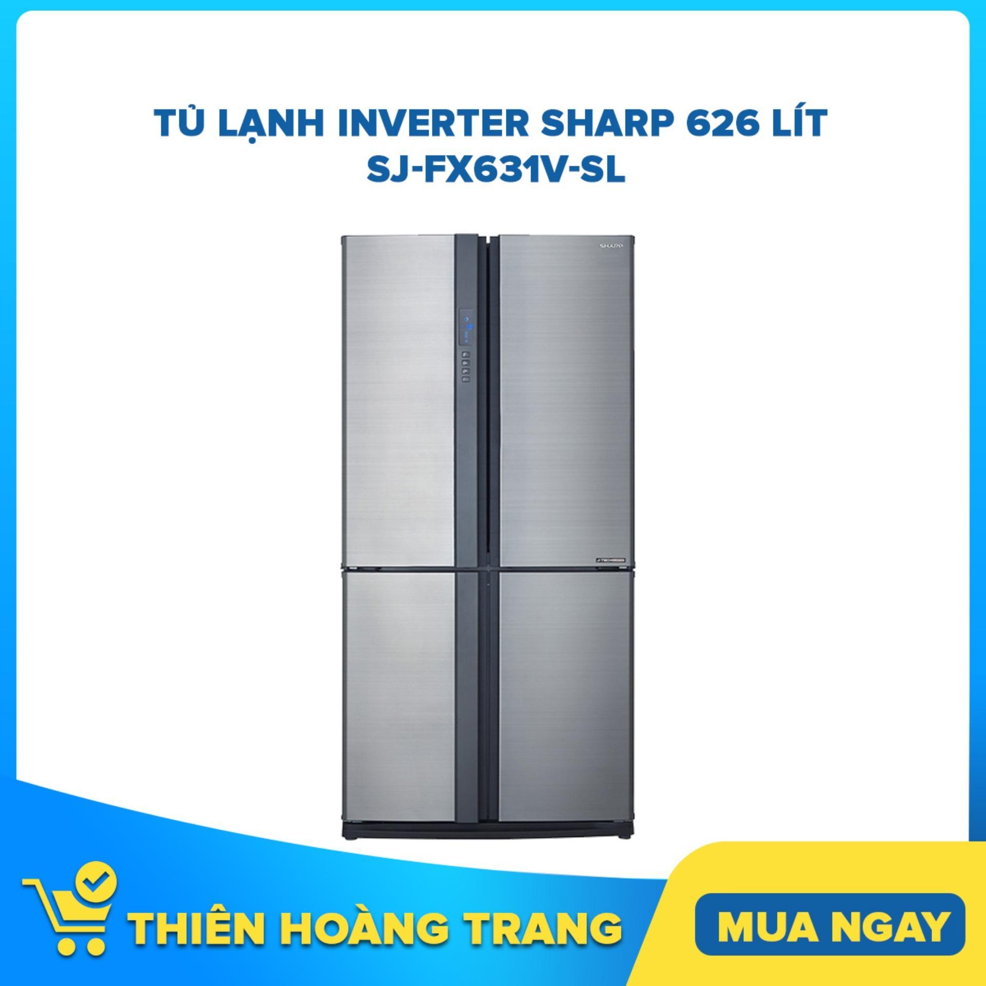 Tủ lạnh Side by Side 4 cửa Sharp Inverter 626 lít SJ-FX631V-SL công nghệ J-Tech Inverter, khử mùi Nano Bạc - Đồng, cửa tủ thép không gỉ