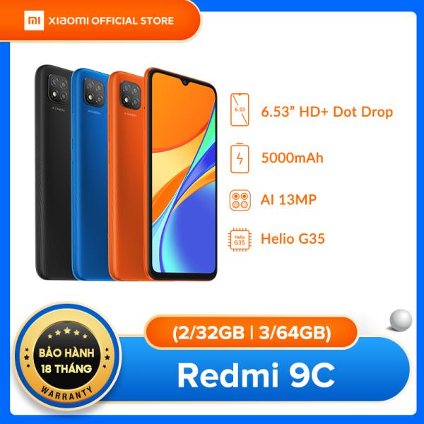 [XIAOMI OFFICIAL] Điện thoại Xiaomi Redmi 9C 2GB/32GB | 3GB/64G | Chip MediaTek Helio G35 8 nhân (12 nm), Màn hình giọt nước 6.53 HD+, Camera 13MP, Pin 5000 mAh siêu trâu, Cày game ngày đêm - BH Chính hãng 18 tháng