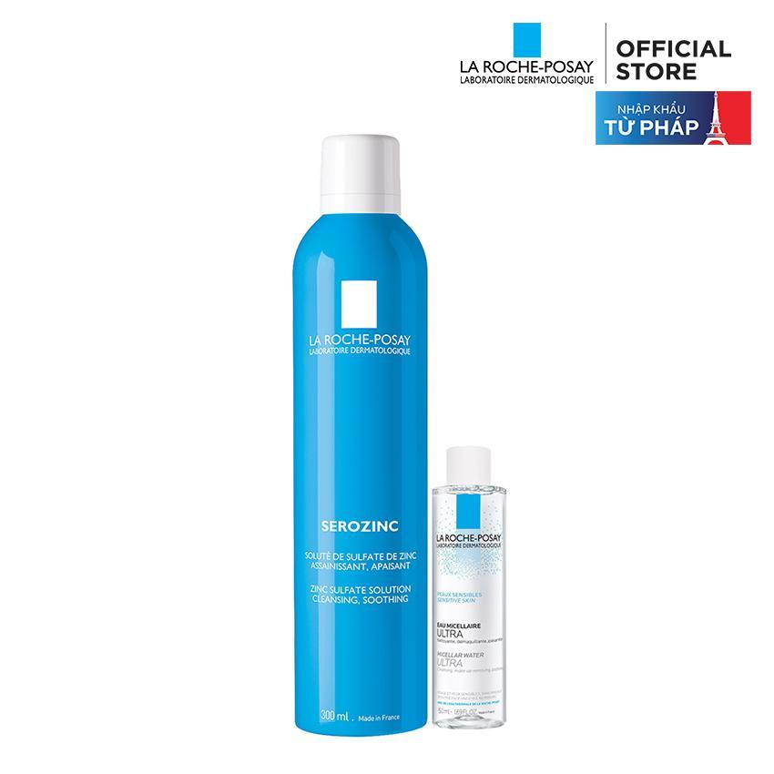 Xịt khoáng dành cho da dầu mụn La Roche Posay Serozinc 300ML tặng Micellar Water 50ML