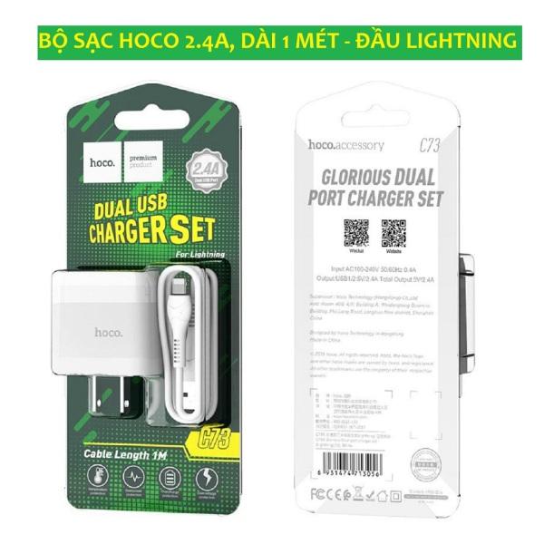[Freeship- Chính Hãng] Bộ Củ Cáp Sạc Lightning Cho Iphone Hoco Sạc Nhanh 2 CỔNG 2.4A - Bảo hành 12 tháng