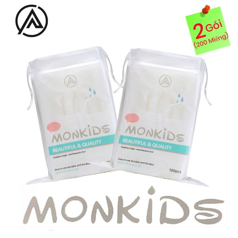 COMBO 2 gói bông tẩy trang 100% cotton 3 lớp mềm mịn thấm hút cực tốt 200 miếng BTT02AZ - Thương Hiệu MONKIDS nhập khẩu