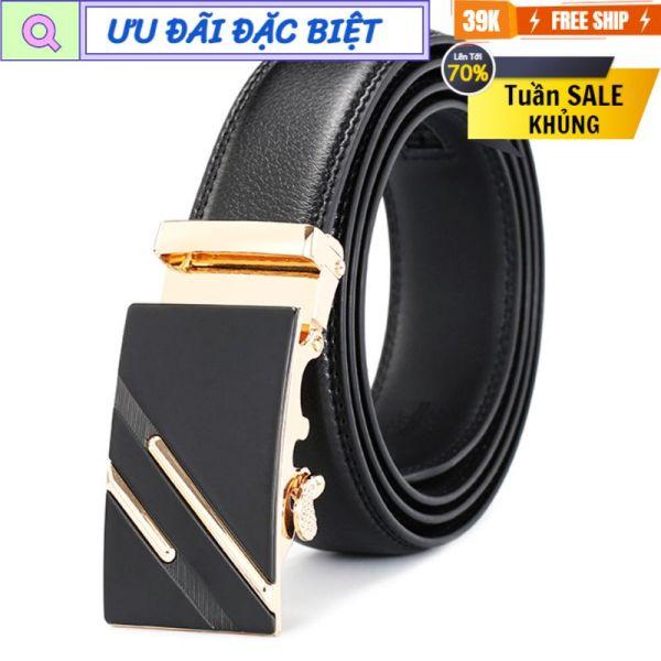 Thắt lưng nam khóa tự động 2 sọc vàng D&D Fashion dây da màu đen dài 120cm