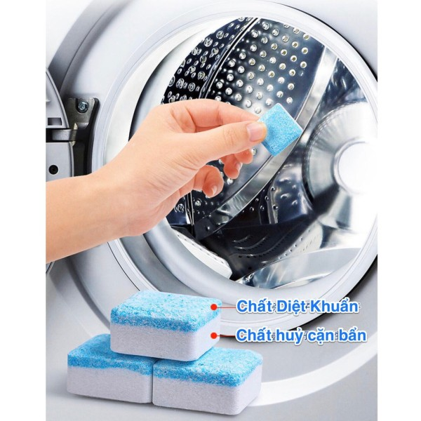 [Hộp 12 Viên] Viên Tẩy Vệ Sinh Lồng Máy GiặtI Diệt khuẩn và Tẩy chất cặn Lồng máy giặt hiệu quả