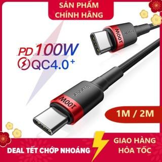 Cáp bện nylon siêu tốc độ BASEUS USB-C ra USB-C PD 3.0 QC 4.0 100W (20V 5A) Hàng chính hãng thumbnail