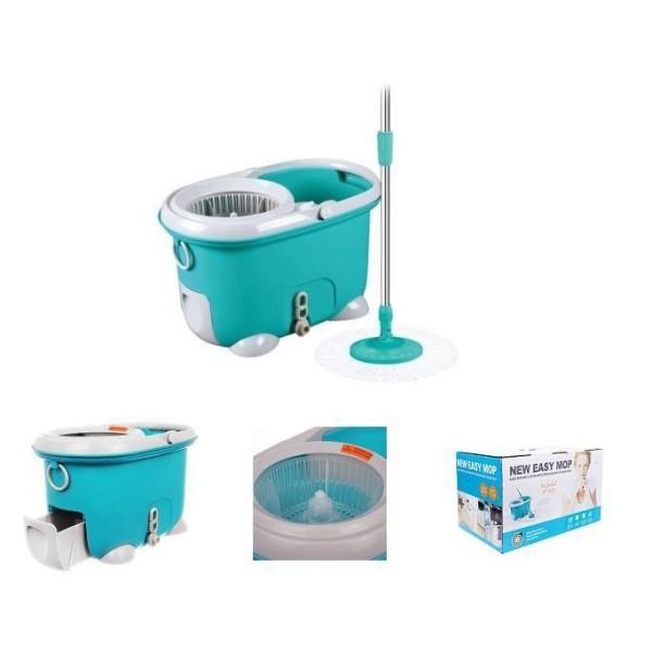 MOP-Q2-1 - Bộ Cây Lau Nhà Xoay Tay 360 Độ Lock & Lock (Xanh dương), 2 bông lau màu trắng + 1 bông lau màu tím - SPCH
