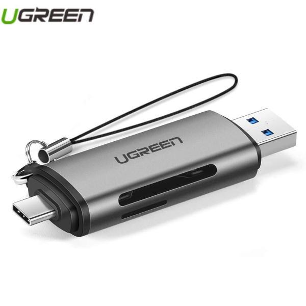 Đầu Đọc Thẻ Nhớ SD, TF 2 chuẩn cắm Chân Type-C và USB 3.0 Ugreen 50706 |CM185