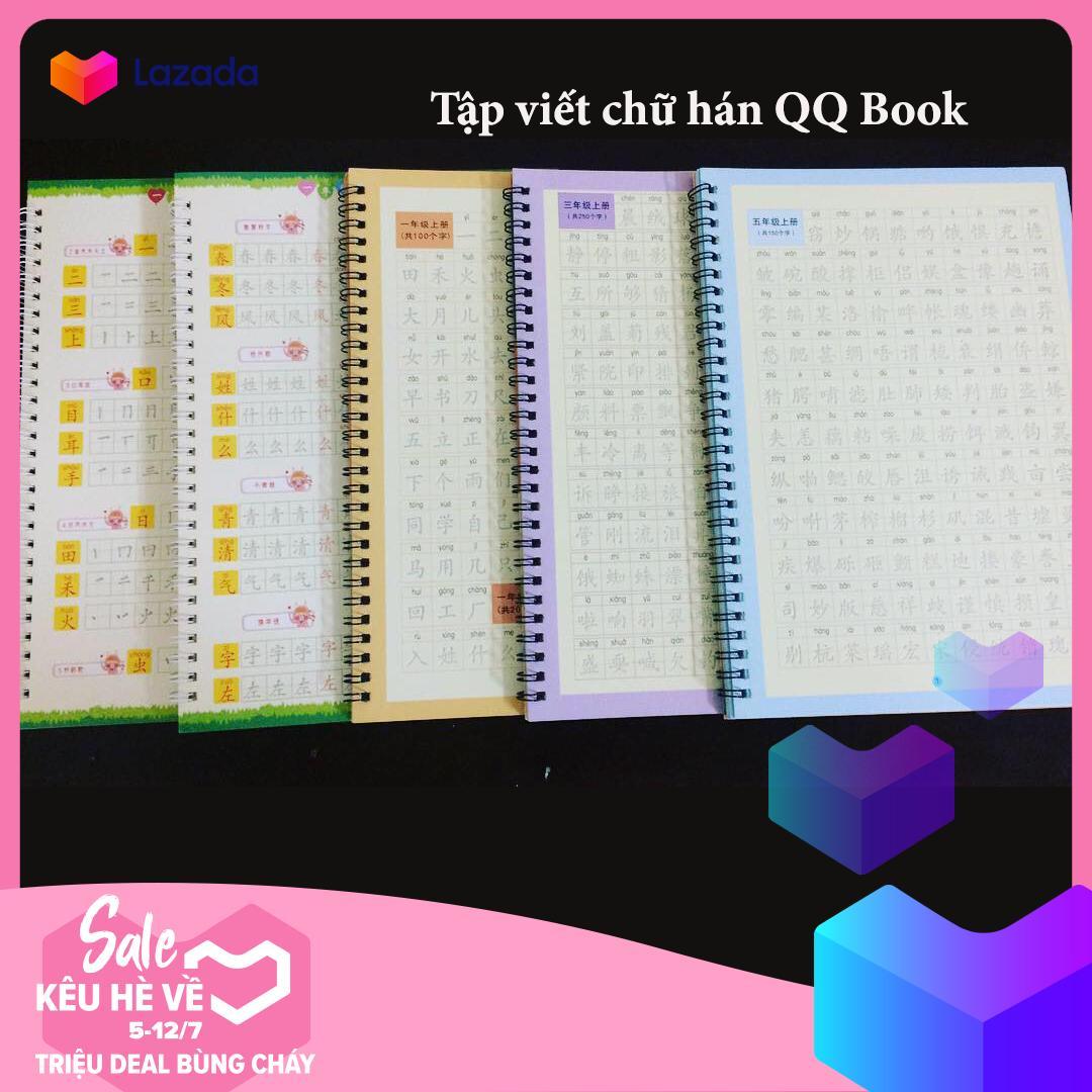 COMBO Tập viết chữ hán, tập viết tiếng trung gồm 3 Quyển  3350 chữ hán + 2 BÚT + 20 Ngòi Mực gel bay màu Nhật Bản