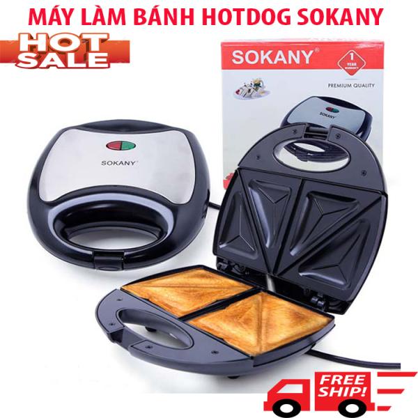 MÁY LÀM BÁNH HOTDOG CHÍNH HÃNG SOKANY KJ-102 - Máy làm bánh sanwich - Máy nướng bánh chống dính cao cấp - Máy kẹp bánh mỳ công suất 750W, làm nóng nhanh, thiết kế nhỏ gọn- Bảo Hành 12 Tháng
