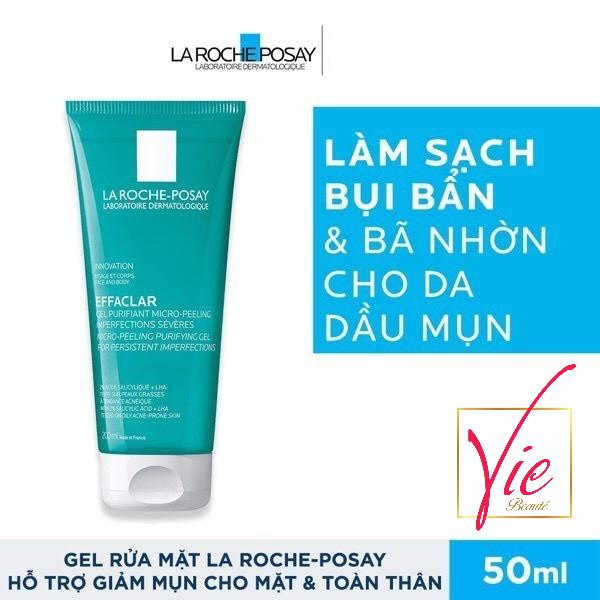 [HCM]Sữa Rửa Mặt LA ROCHE-POSAY Effaclar Micro-Peeling Gel Cleanser làm sạch & giảm mụn 50ml nhập khẩu