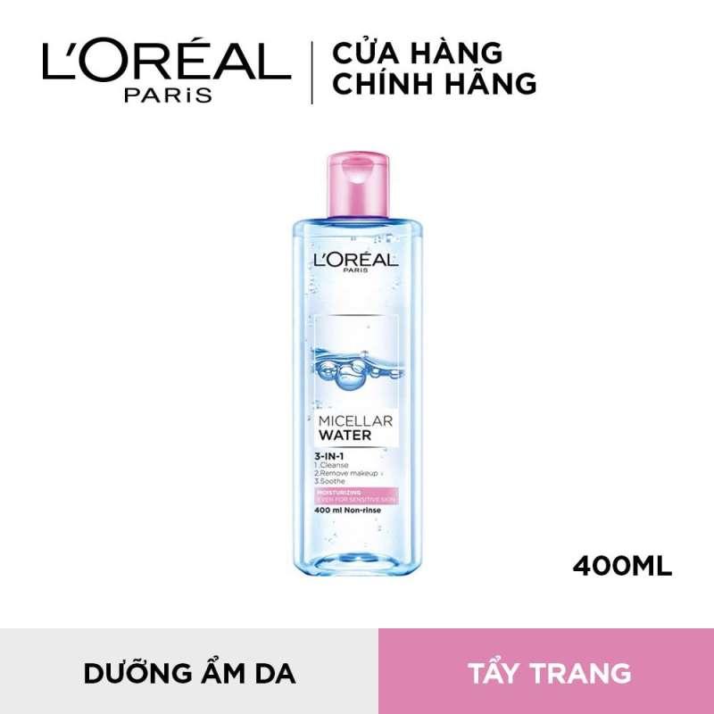 Nước tẩy trang dưỡng ẩm cho da nhạy cảm LOreal Paris Micellar Water 400ml (màu hồng) nhập khẩu