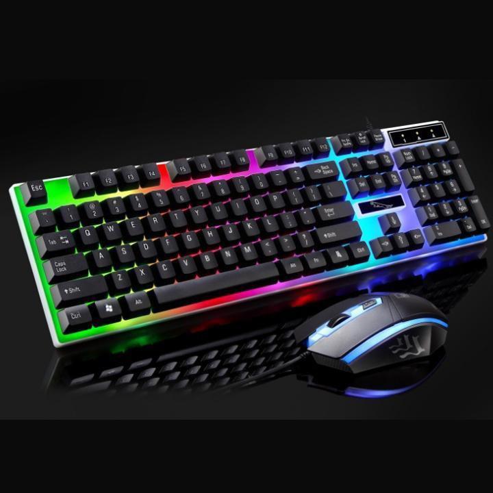 Combo bàn phím và chuột giả cơ G21, Bộ bàn phím giả cơ và chuột game dành cho game thủ G21 led đa màu Nhật Bản