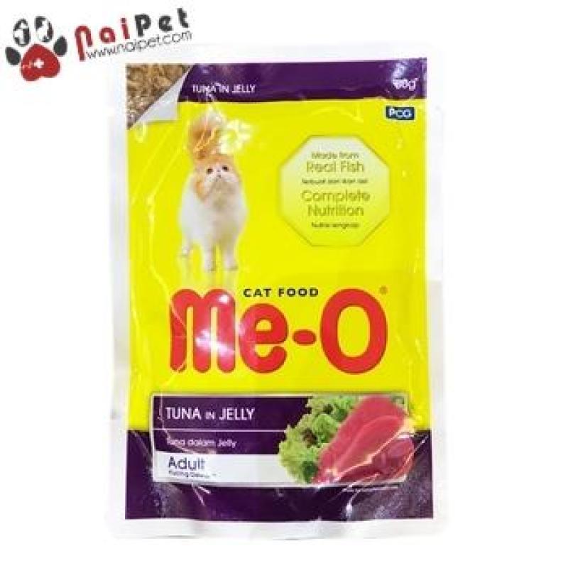 Thức Ăn Dinh Dưỡng Cho Mèo Pate Mèo Súp Mèo vị Cá Ngừ Nấu Đông Tuna In Jelly Me-O 80g