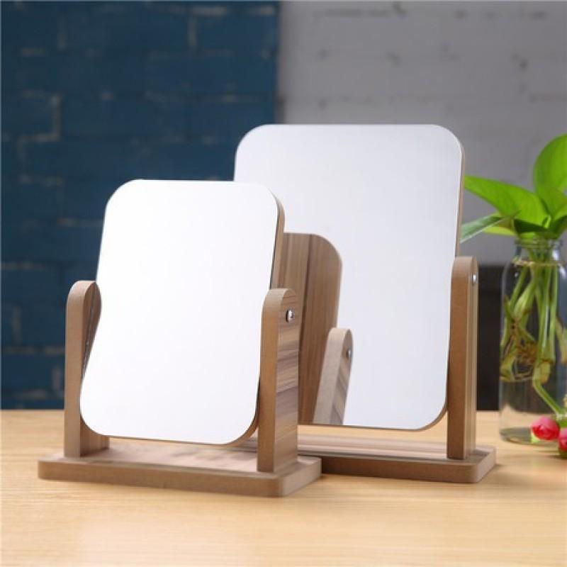 Gương để bàn bằng gỗ gương soi mặt gỗ xoay 360 độ