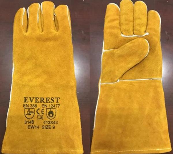 Găng tay hàn Everest EW14 Bao tay hàn da lộn, chống cháy, chịu nhiệt/tia lửa văng bắn, lớp lót chống hầm bí