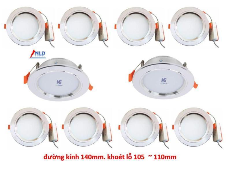 Combo10 Đèn Led âm trần viền bạc 9w 3 màu 3 chế độ HG