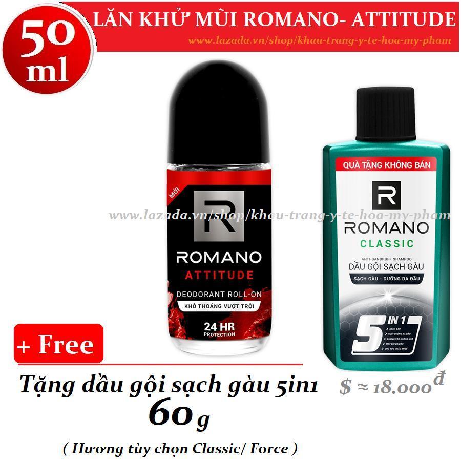 Romano - Lăn khử mùi Attitude 50 ml + Tặng dầu gội sạch gàu 60 g